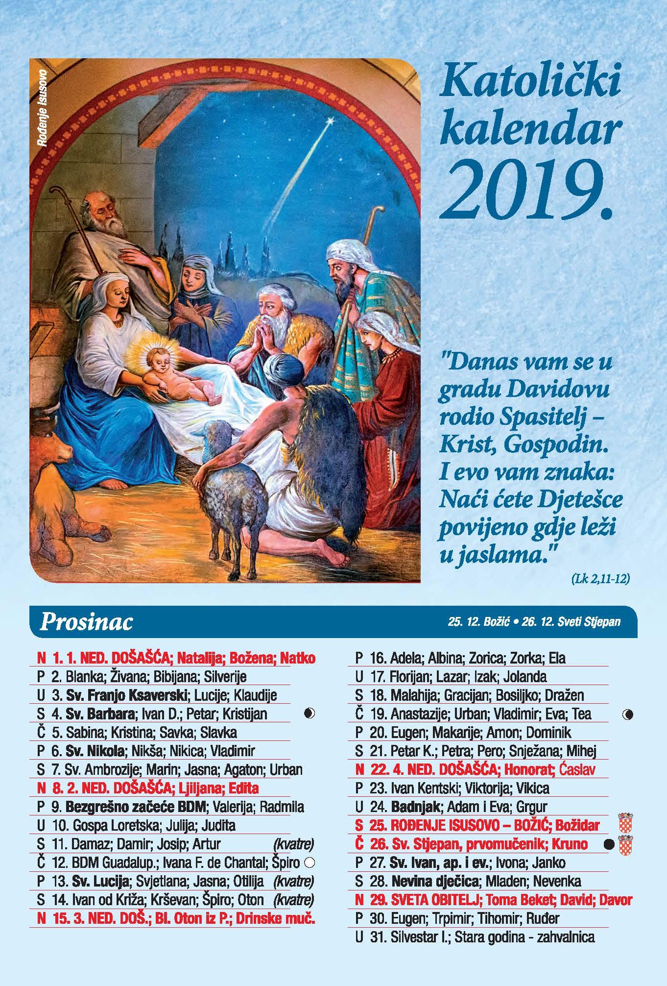 Katolicki Kalendar Za 2019 Godinu