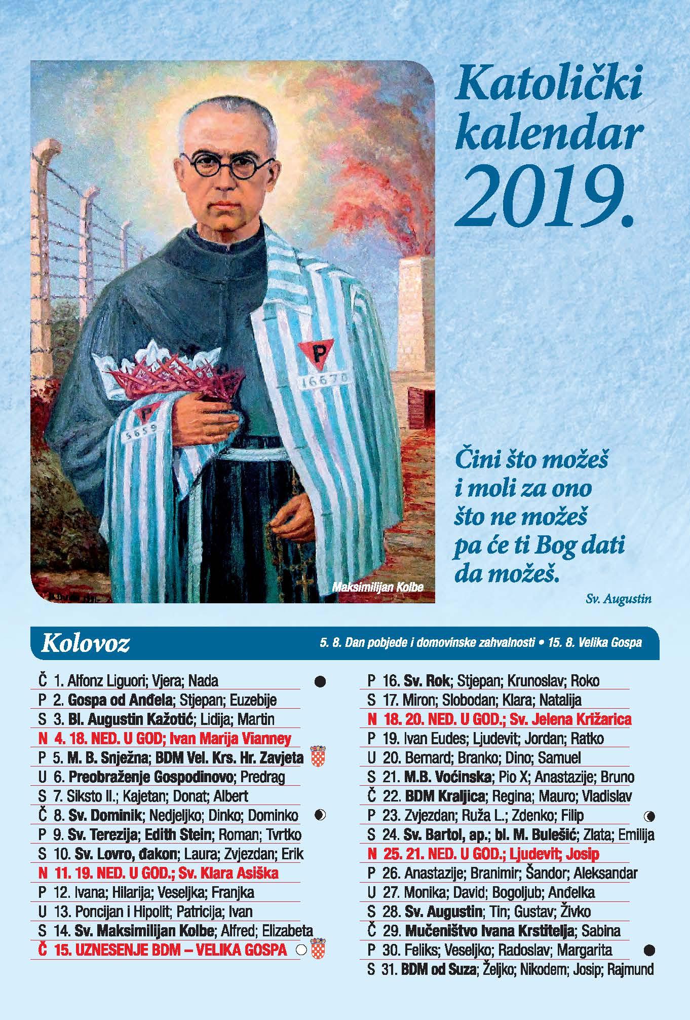 Katolicki Kalendar 2019 Sa Imenima